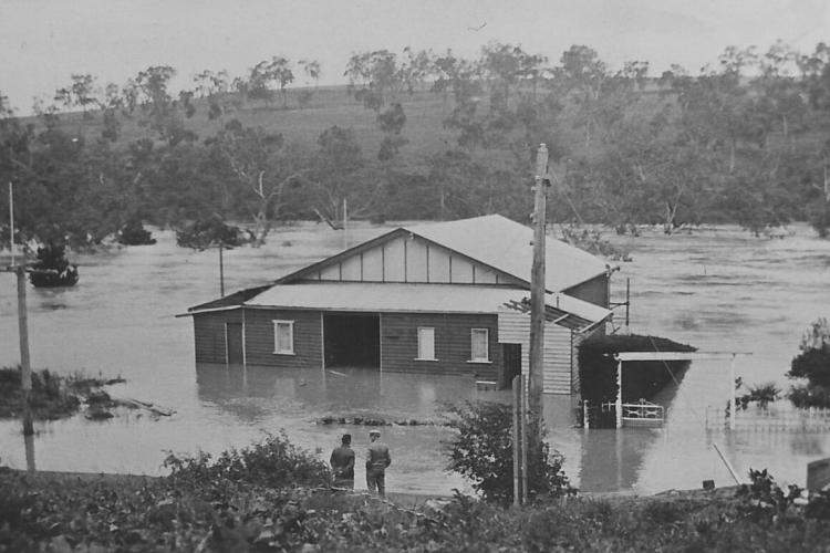 1934 - 1 December floods, FCC clubhouse and esplanade underwater