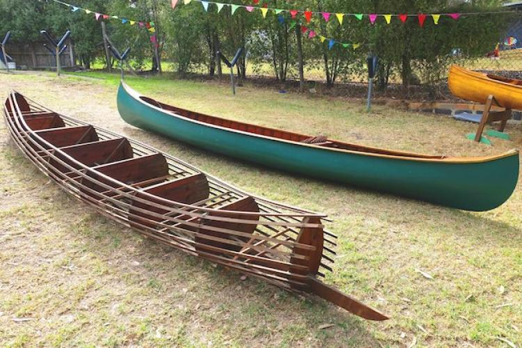 Frames and rib bands of new canoe